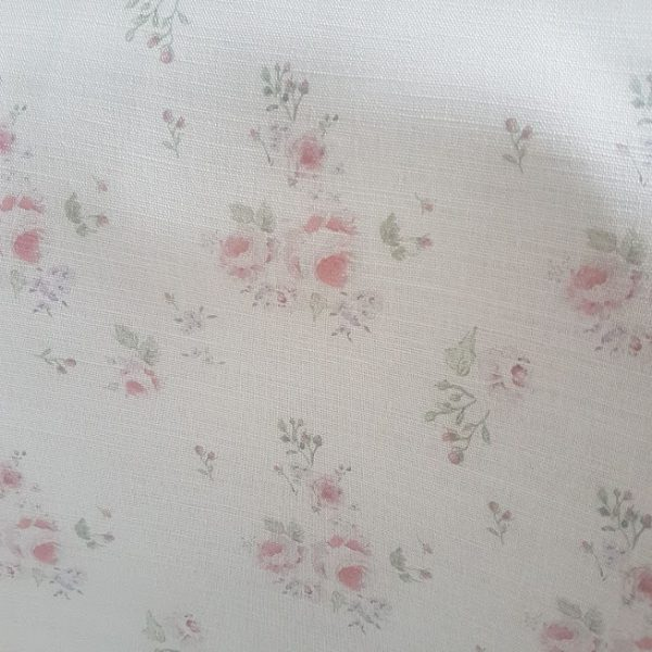 Faded Country Roses on Ivory Linen