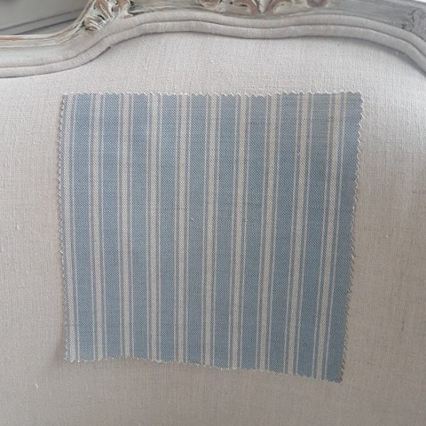 Naturals Collection Parma Blue Ticking Stripe on Natural Linen Gorgeous Parma Blue on a natural base. This one and grey are my favorites. Perfect for a vintage interior with antiques.  Repeat Width:2cm