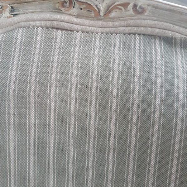 Naturals Collection- Grey Ticking Stripe on Natural Linen