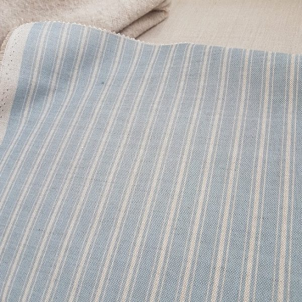 Naturals Collection Soft Manor Blue Ticking on Natural Linen