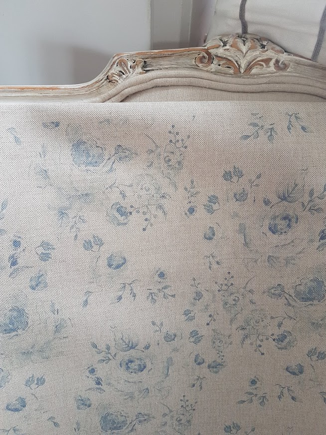 Naturals Collection Provence Roses Soft Manor Blue on Natural Linen