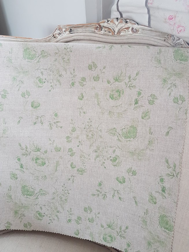 Naturals Collection Provence Roses Pomme Verte on Natural Linen