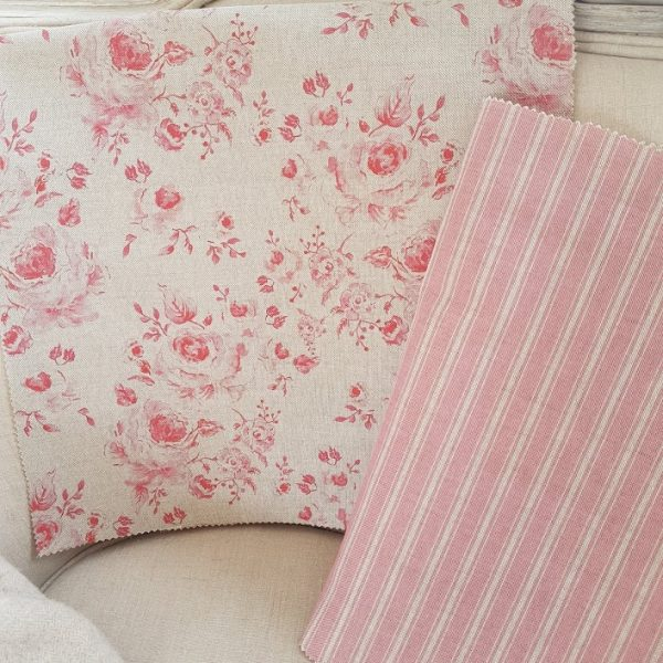 Provence pink ticking on natural linen fabric by rose and foxgloves