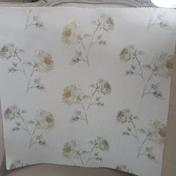 Snow Roses on Ivory Linen Fabric