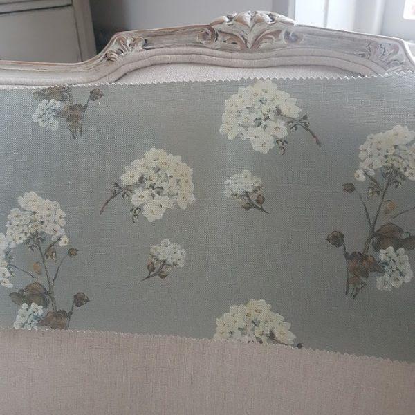 White Hydrangeas on Dark Grey Linen Fabric