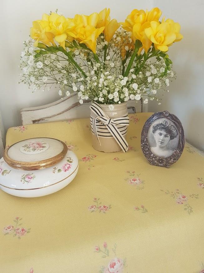 little Pink roses on Dark buttermilk linen fabric