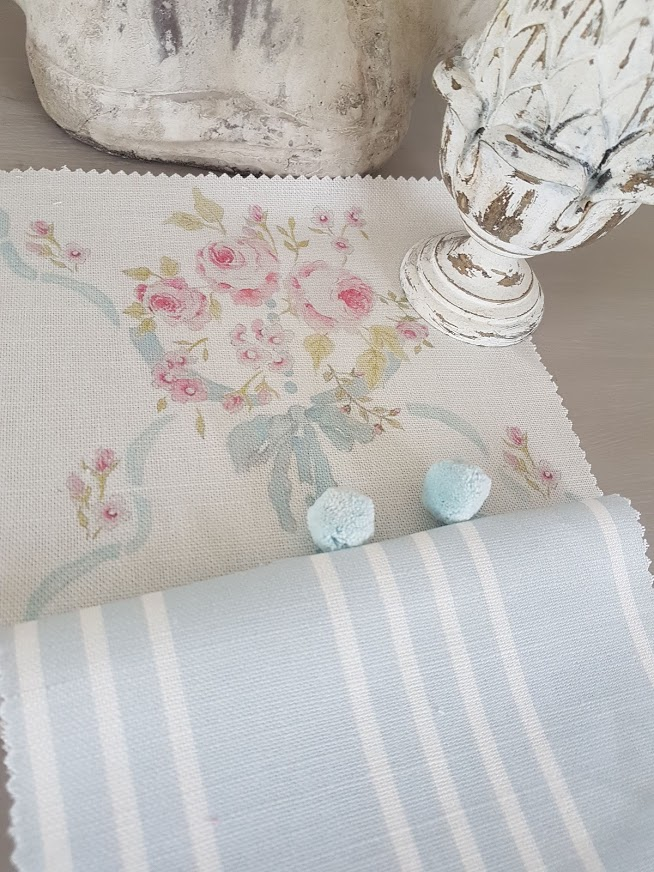 Aubusson Roses with Soft Powder Blue Stripes by Rose and Foxgloves