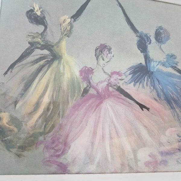 Beautiful Rare Vintage Ballgown Dancers Print signed EF Rose and Foxgloves