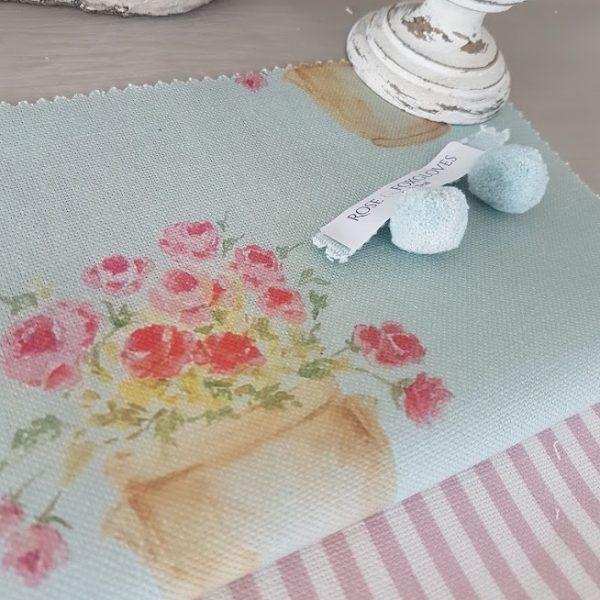 Confit Pot on Duck Egg Blue Linen with Dusky Pink Stripes