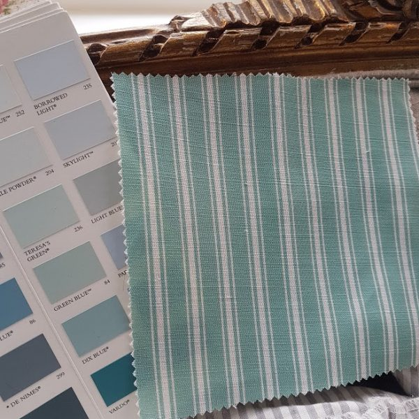 Dix Blue and Ivory Ticking Stripe Linen Fabric