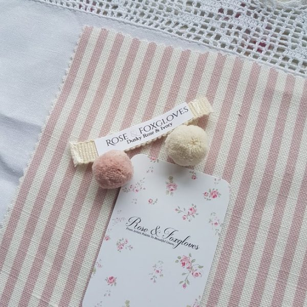 Dusky Rose & Ivory Stripe Linen Rose and Foxgloves