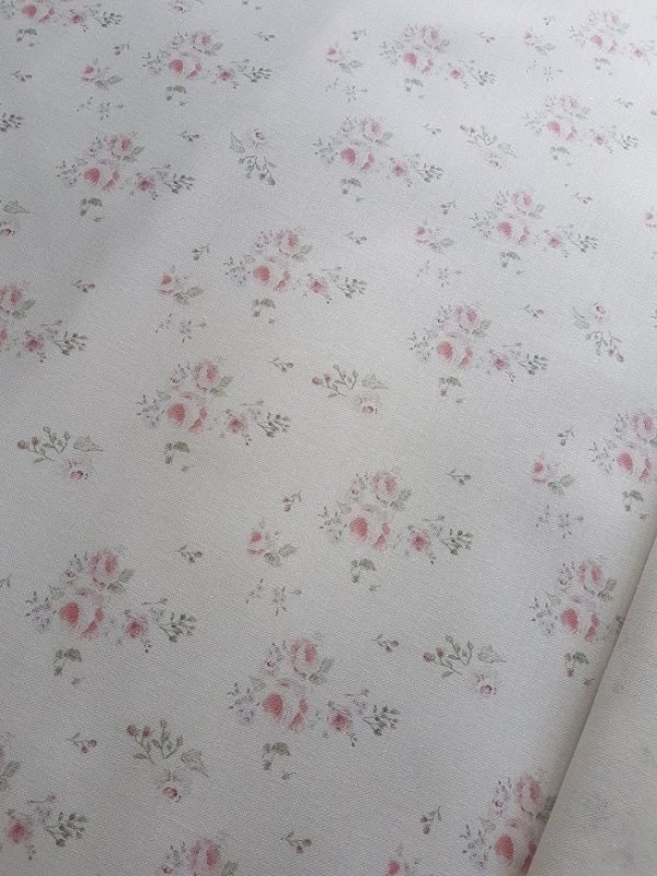 Faded Country Roses Vintage Style Linen Fabric Rose and Foxgloves