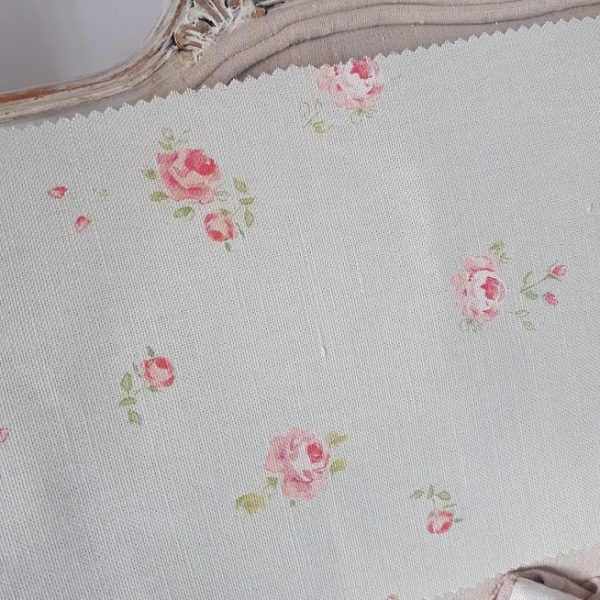 Little Pink Roses on Whisper Green Linen