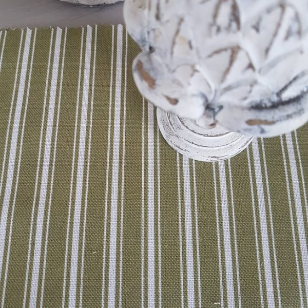Moss and Ivory Ticking Stripe Linen Fabric