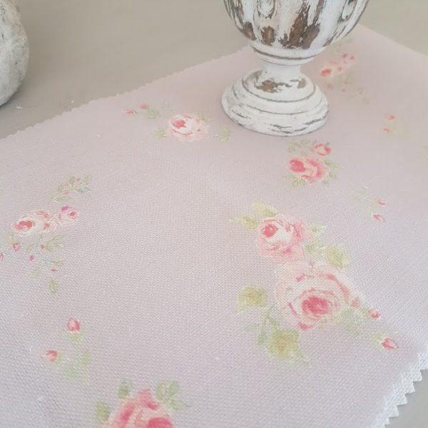 Little Pink Roses on Dusky Blush Pink Linen