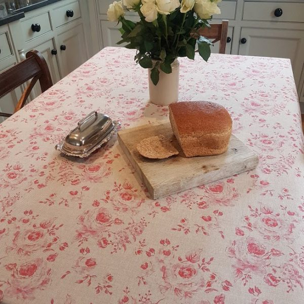 Provence Roses Tablecloth on Natural Linen by Rose and Foxgloves