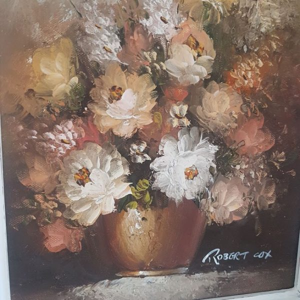 Robert Cox Vintage Floral Roses Framed Signed Oil Painting sold by Rose and Foxgloves