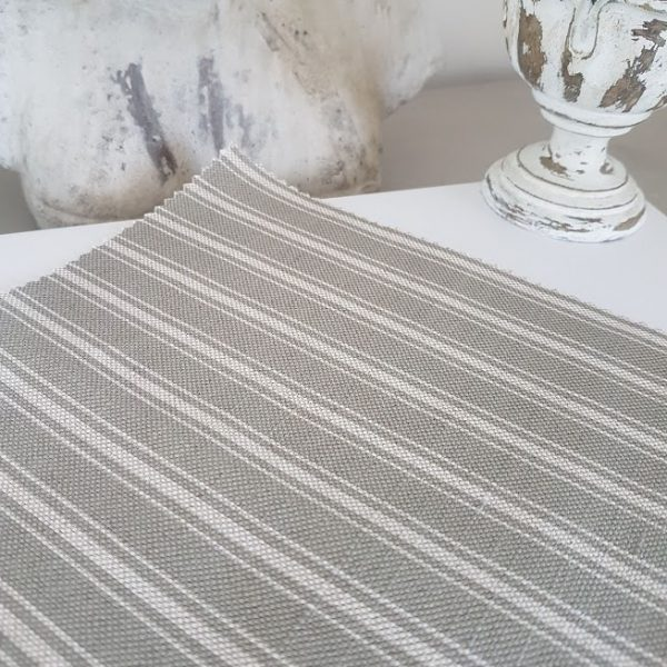 Slate Grey Ticking Stripe on a Natural Linen Base