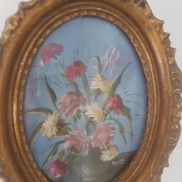 Small Antique Floral Roses Oil Painting Signed in an Ornate Oval Gold Frame Rose and Foxgloves Vintage and Antique Paintings