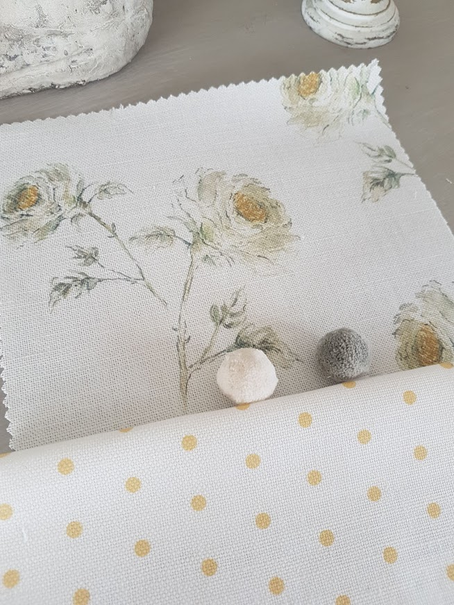 Snow roses Linen with Saffron Polka Dots By Rose and Foxgloves