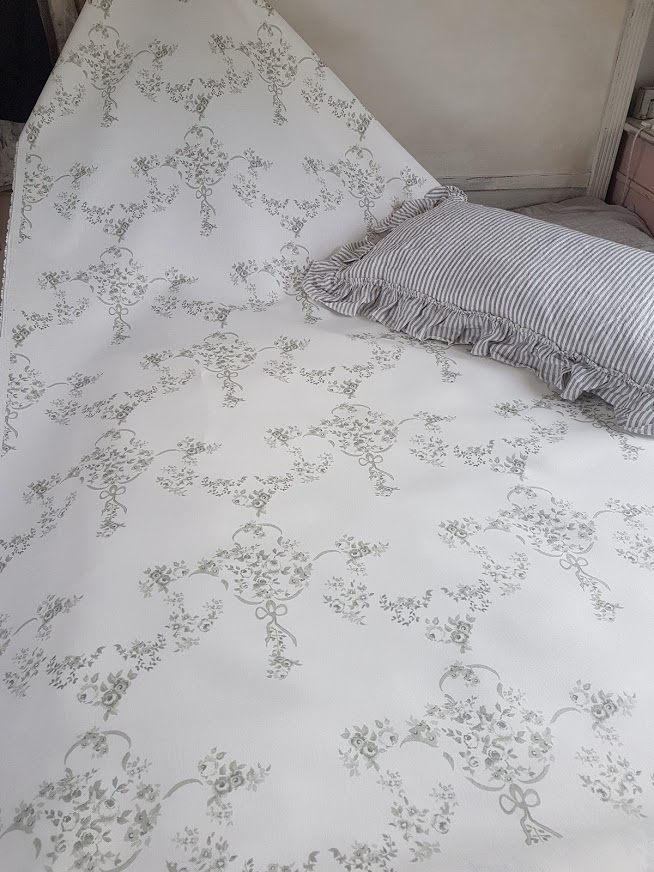 The Rose Garden in Granite and Dove Greys Vintage Style Linen Fabric Rose and Foxgloves