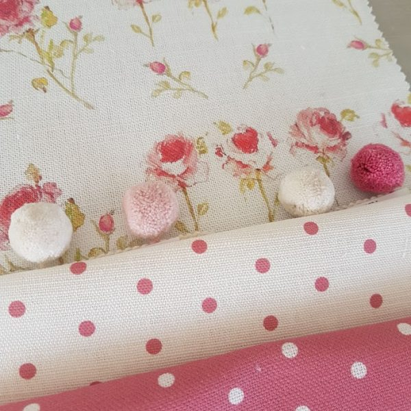 Three Little Roses Linen Fabric Rose and Foxgloves