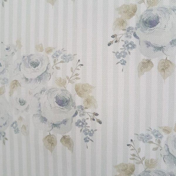 Anais French Cabbage Roses in Blue on a faded Grey & Ivory Striped Linen.