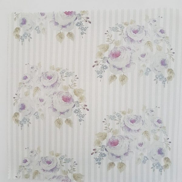 Anais French Cabbage Roses in Lilac on a faded Grey & Ivory Striped Linen