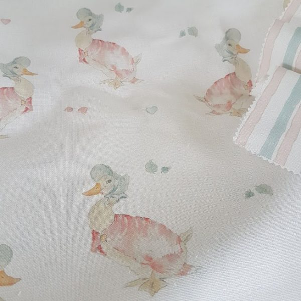 My Jemima Beatrix Potter Handdrawn striped Linen Fabric in soft pink and duck egg blue by Rose & Foxgloves