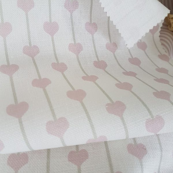 Puppy Love Pink Hearts and Stripes on Ivory Linen by Rose and Foxgloves