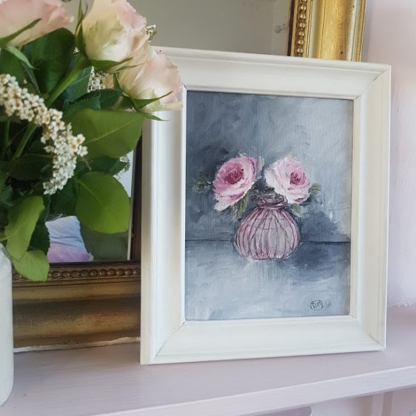 Two Pink Roses in a Pink Glass Pot Framed Oil Painting By Rose & Foxgloves
