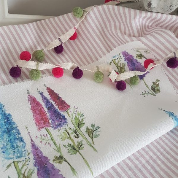 Watercolour Delphiniums Linen Fabric by Rose and Foxgloves