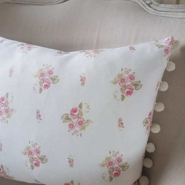 Edelweiss and Chalk Polka Dots on Vintage Linen Bolster