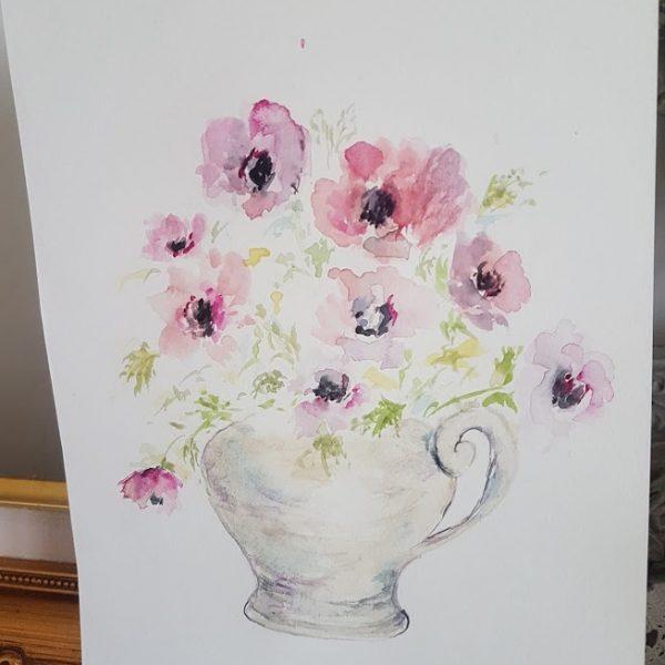 Evening Doodles-Jug of Garden Anemones