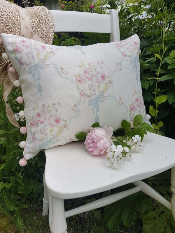 Aubusson Roses French Vintage Style bolster cushion with handloomed pompoms by Rose and Foxgloves