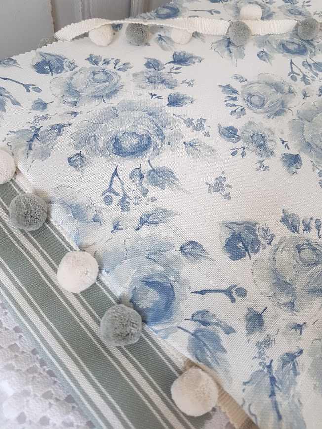 Far from the madding crowd Blue Roses on Ivory Linen