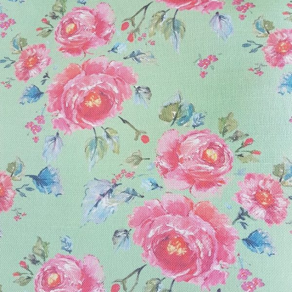 Far from the madding crowd on Green Ground Rose and Foxgloves Vintage Floral Linen Fabrics