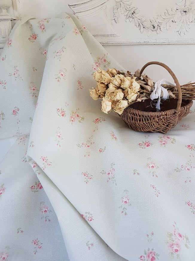 Little Pink Roses on whisper green linen by Rose and Foxgloves