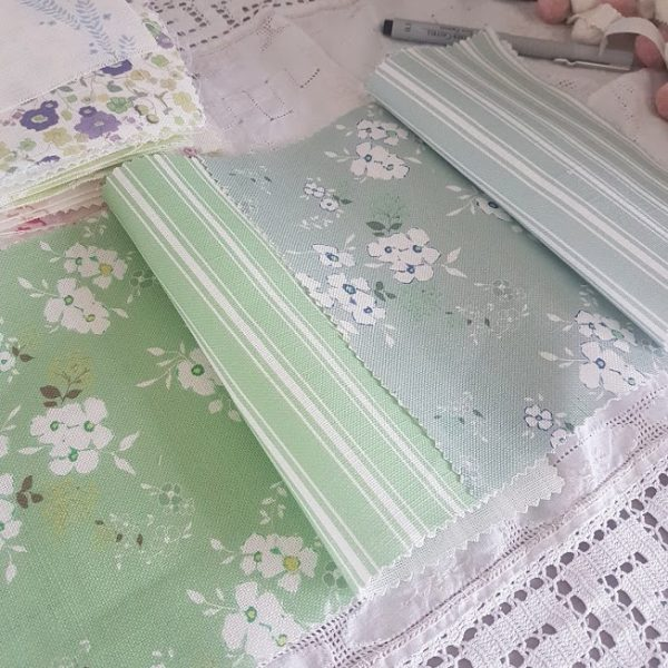 Mollys Garden Linen Fabric in Shed Teal Fern and Olive colourway by Rose and Foxgloves