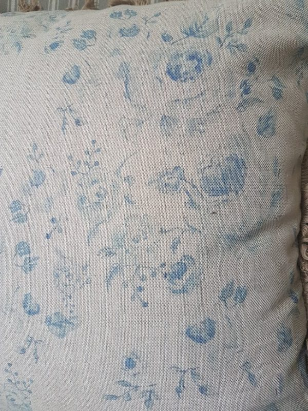 Provence roses cushion in manor blue