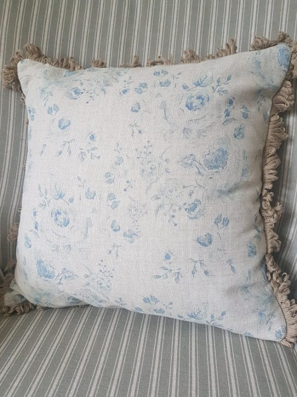 Provence roses cushion in manor blue with mole trimming by rose and foxgloves