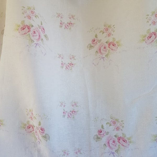 Rose and Bows On Pure white linen fabric Remnant by Rose and Foxgloves-