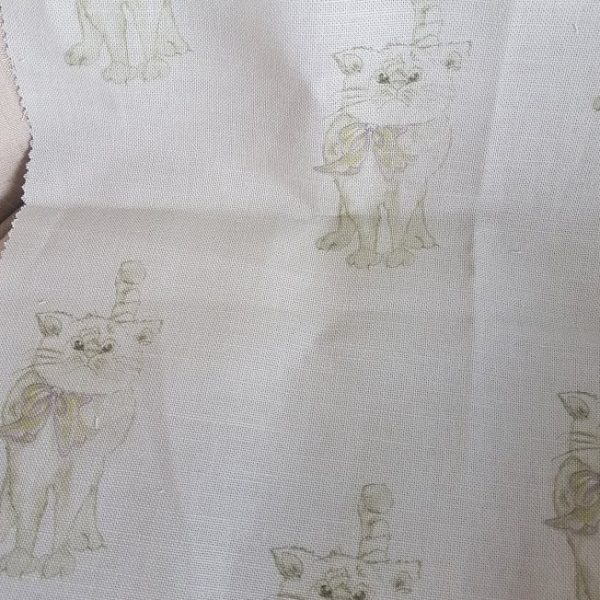 Rose and Foxgloves Grumpy Tommy Cat Fabric Reject Remnants RF110621-4