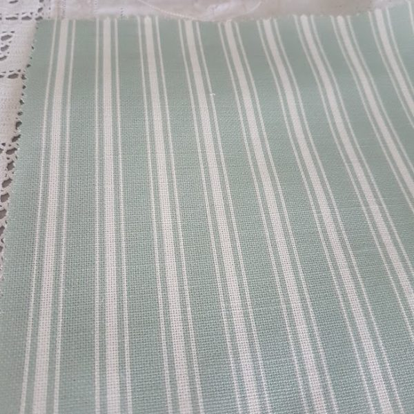 Shed Teal Blue and Ivory Ticking Stripe Linen Fabric