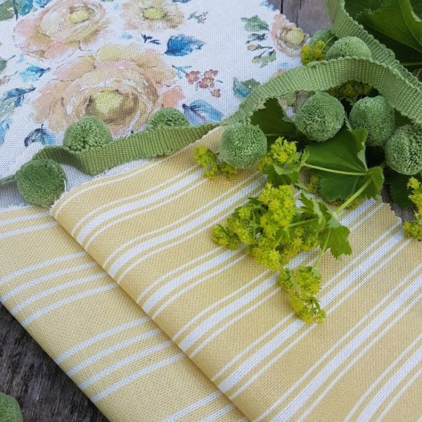 Soft Olive Handloomed Cotton Pom Pom Trimming