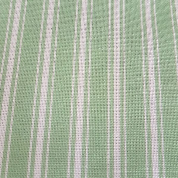 Spring Green and Ivory Ticking Stripe Linen Fabric