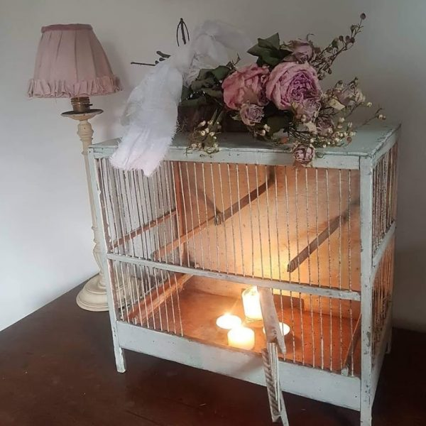 Vintage French Wooden and Metal Bird Cage