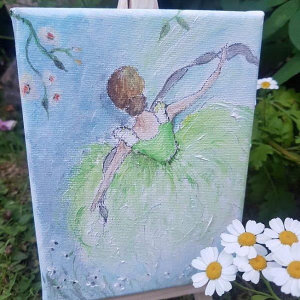 Garden Dancer on Canvas Minature painting by Rose and Foxgloves