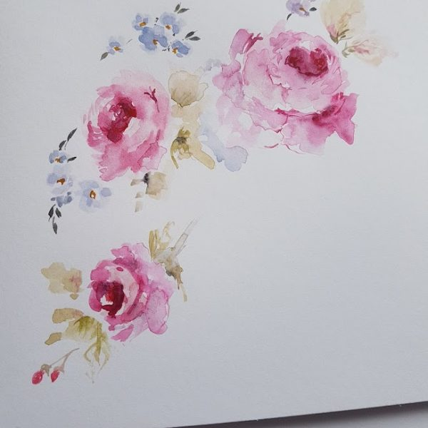 Dreaming of Roses Original signed watercolour card with envelope