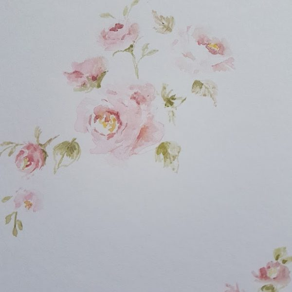 Fading Summer Roses Original signed watercolour card with envelope